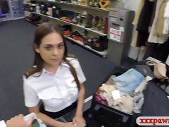 Hot Latina stewardess fucked at the pawnshop for extra cash