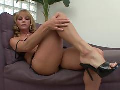 Blonde In High Heels Wired Doggystyle On Cumshot