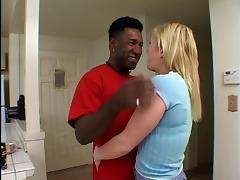 Sexy blond white whore fucks black pole