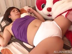A funny clip of a Japanese babe dressed like a mascot getting fucked