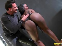 Appreciative ebony with black butt in panties moaning while being fucked in interracial sex