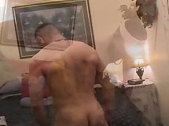 Muscled gay hunk craves for cock