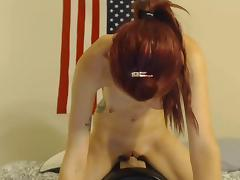 Girl rides her sybian toy till she cums