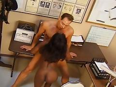 Busty ebony criminal serving white cop huge boner