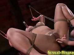 Toyed asian sub throat fucked