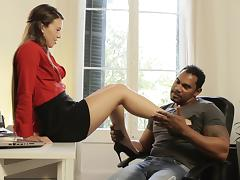 Cuddly babe gets a big black cock drilled in her ass hole in an epic interracial ffm threesome