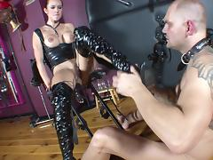 Blazing pornstar with tattoo enslaved as she gets fingered before being screwed hardcore in torturous femdom