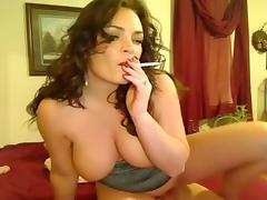Smoking fetish-Big tit slut smokes and rides