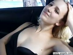Blonde babe with natural tits teased using vibrator and screwed in threesome