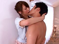 Ria Horisaki gives head to a guy and gets a mouthful of jizz