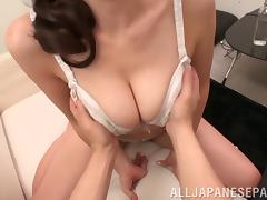 Ayumi Shinoda sucks cock and gives titjob and facial cumshot
