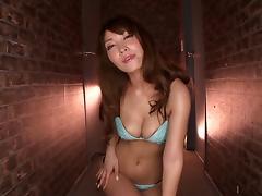 Asian milf Kokomi Sakura sucks a dildo and rides it ardently