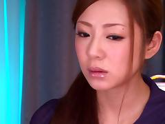 Asian dame with big tits yelling while riding big cock hardcore