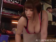 Tantalizing Japanese cowgirl gets cum on her tits after a hardcore pounding