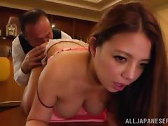 Immaculate Japanese pornstar getting her hairy pussy licked then drilled hardcore