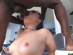 This cock hungry white girl sucks two black dicks at the same time