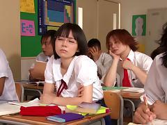 Horny Japanese college teens enjoy fucking hardcore