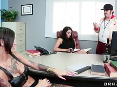 Endearing lesbian in stockings getting drilled using strapon in the office
