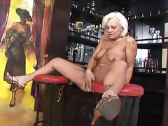 Slutty Granny fingers her Pussy and gets fucked