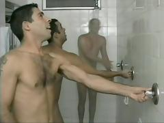 Comely gay stud gets his ass drilled in showers