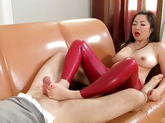 Bubbly Asian babe with foot fetish gets her pussy fingered