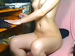 A shy school girl flashing boobs on webcam (faceless)