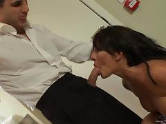 Hot brunette gets pussy banged after sucking cock on the couch