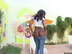 Ebony with black butt in jeans yelling as her anal is drilled hardcore in pov shoot
