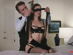 Riley Reid's shaved pussy gets pounded with a naughty and hot horny stud