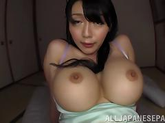 Big boobed asian milf Miki Ichiki gives her guy a hot tit fuck