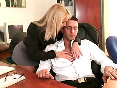 Affectionate blonde in a miniskirt having her pussy fingered before being hammered at the office
