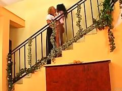 Hardcore anal babe sucking dick on the steps before getting cunt banged