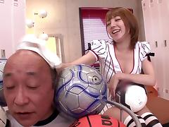 Tsubasa Amami gives a rimjob and a footjob in the locker room