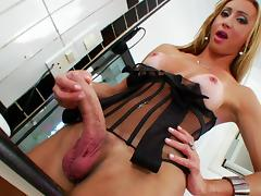 Lustful shemale, Laura Ferraz, wearing a corset, plays with her cock