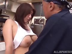 A chef fucks his Asian waitress and cums on her tits