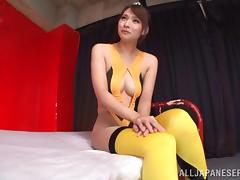 A Japanese girls get her pantyhose ripped off and her pussy fucked