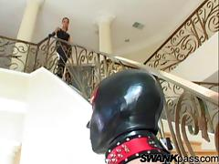 BDSM action along babe in leather blowing a cock and fucked in a femdom scene