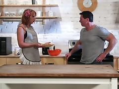 Cheerful redhead with natural tits gets fucked hardcore in the kitchen