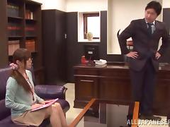 Doting Japanese babe with glasses getting fingered then drilled hardcore doggy style