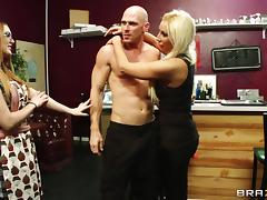 Stunning blonde with huge tits enjoying a hardcore cowgirl style fuck