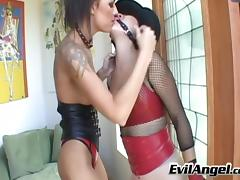 Hardcore lesbian whores in leather dildo fucking ass and cunt