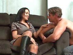 Latina shemale Foxxy gets her ass worshiped and cock sucked