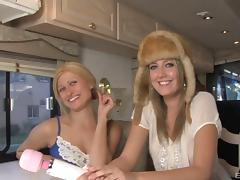 Girls in the RV get to sample the pleasures of big black cock