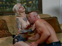 Luscious blonde babe with pigtails rides a cock hardcore after getting her face fucked
