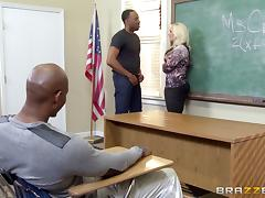 Slutty teacher deals with four black detention students alone