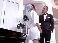 After a relaxing massage Vicki Chase rides his cock