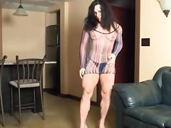 Muscle, Blowjob, Brunette, Creampie, Fishnet, Hardcore