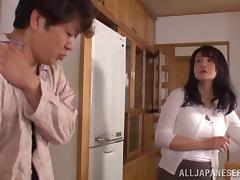 Maika Asai gets banged on the couch and take a cumshot in her mouth