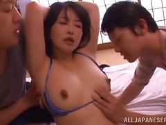 Hot Japanese cougar being pounded in a threesome