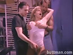 Randy slut gets hardcore banged in threesome before taking facial cumshot
